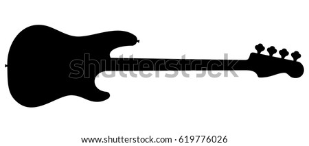 Silhouette of electric bass guitar isolated on white background. Foto d'archivio ©