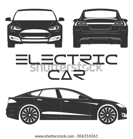 silhouette of electric car