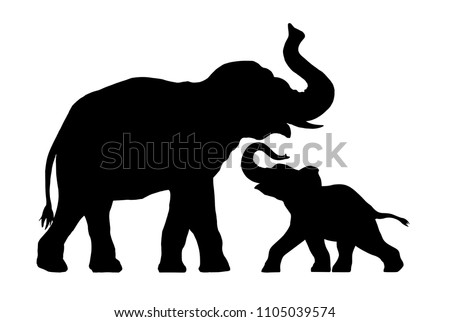 silhouette of elephant with baby elephant