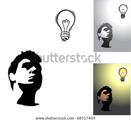 Silhouette of face. Stranger and light bulb. Creating ideas. You can find similar images in my gallery!