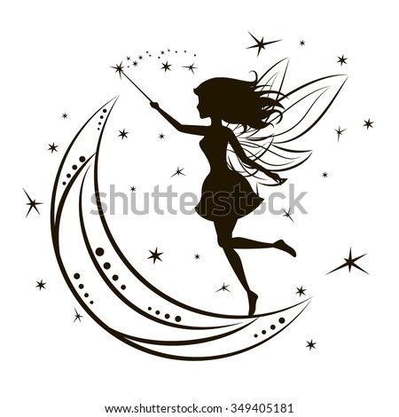 Stock Photo Silhouette of fairy with moon and stars. Girl magic beauty fantasy, vector illustration