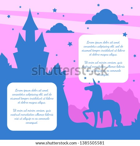 Silhouette of Fairytale Magic Castle and Unicorn on Sunset Background, Banner Template with Place fo Text Vector Illustration