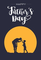 Silhouette of father and son giving high-five with text happy father's day, vector