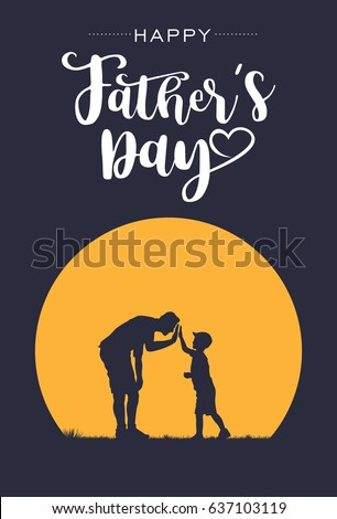 silhouette of father and son