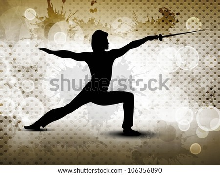 Silhouette of fencing athlete practicing on abstract grungy brown background. EPS 10.