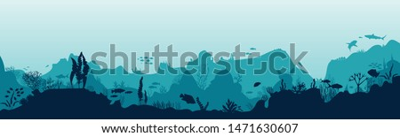 Silhouette of fish and algae on the background of reefs. Underwater ocean scene. Deep blue water, coral reef and underwater plants. a beautiful underwater scene; a vector seascape with reef.