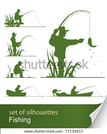 silhouette of fisherman vector illustration isolated on white background