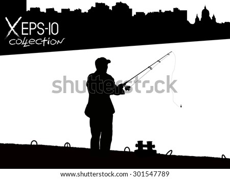 silhouette of fisherman with