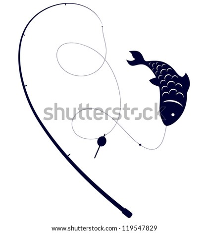 silhouette of fishing rods and fish on the hook