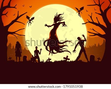 silhouette of flying evil