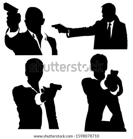 silhouette of four secret agent