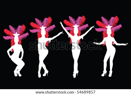 Silhouette of four showgirls