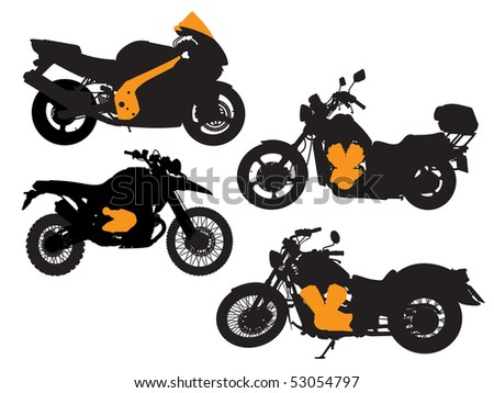 Silhouette of four various motorcycles