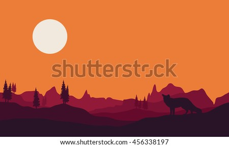 Silhouette of fox in hills a beautiful landscape