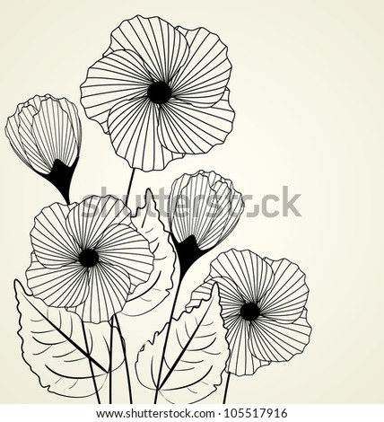 Silhouette Of Garden Flowers In The Background Stock