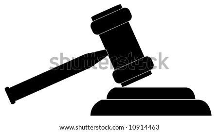 silhouette of gavel - hammer of judge or auctioneer - vector