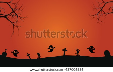 silhouette of ghost in graves