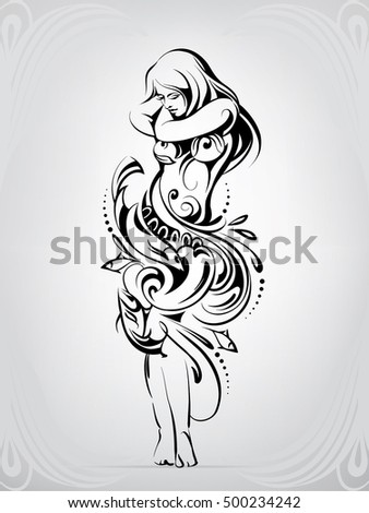 Stock Photo Silhouette of girl in a dress from a wave