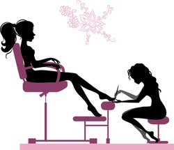 Silhouette of girl making pedicure in beauty salon