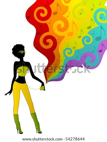 Silhouette of girls girl listens music on a disco background
