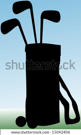 silhouette of golf bag