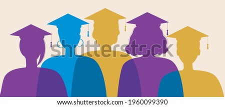 Silhouette of graduates isolated. Flat vector stock illustration. Young graduates wearing square academic caps. Science symbol, higher education concept. Silhouette illustration Foto stock ©
