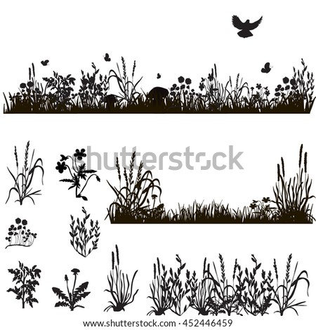 silhouette of grass and plants, in isolation,vector, isolated,butterfly and dove