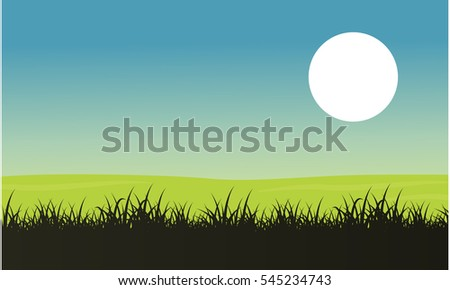 silhouette of grass with moon
