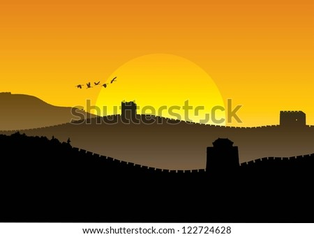 silhouette of great wall of