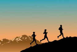Silhouette of  group of people running up the hill against the sunrise
