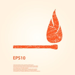 Silhouette of Grunge Safety match with flame. Vector Illustration. Eps 10.