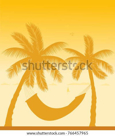 silhouette of hammock under the