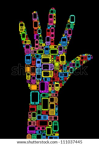 Silhouette of hand made with Cellphones and Smartphones in black background