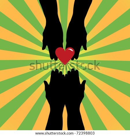 Silhouette of hands giving love symbol