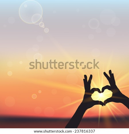 silhouette of  hands in form of