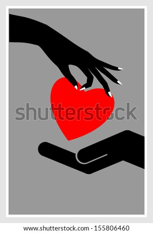 silhouette of hands one giving