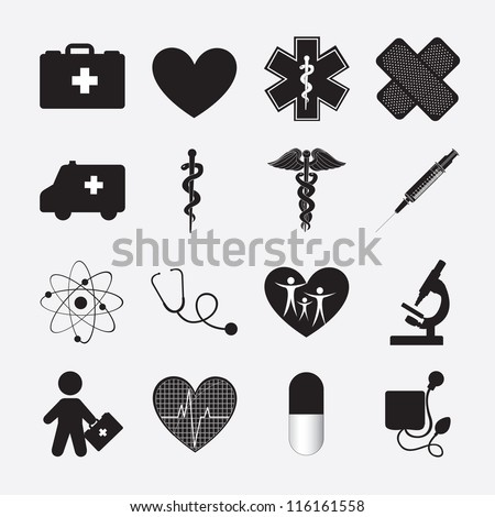 silhouette of Health icon over white background