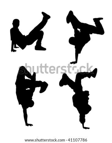 silhouette of hip-hop dancer