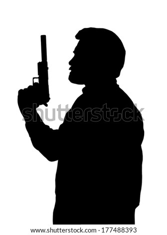 silhouette of hitman with