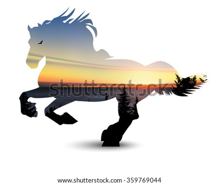 silhouette of horse with