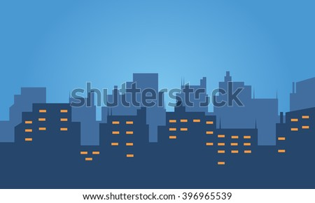 Silhouette of hotel at night