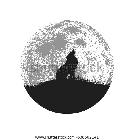 silhouette of howling wolf on