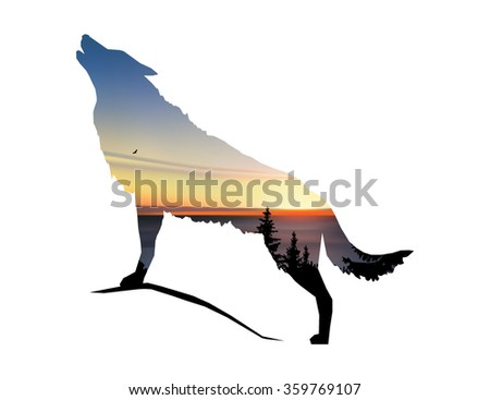 silhouette of howling wolf with