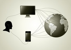 Silhouette of human head figure having wire connection with computer and smartphone