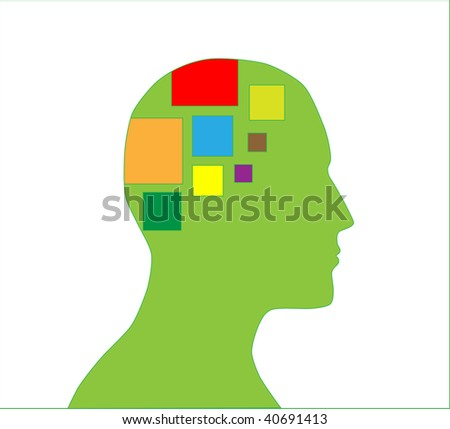 Silhouette of human head with ideas in mind