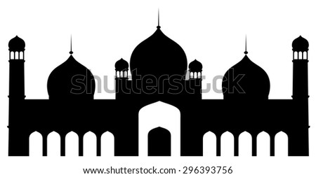 silhouette of islamic mosque in