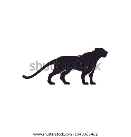 silhouette of jaguar puma lion