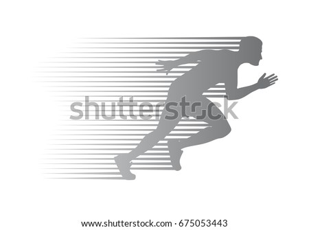 silhouette of jogger on finish. ...