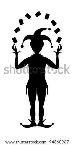 Silhouette of Joker playing with cards