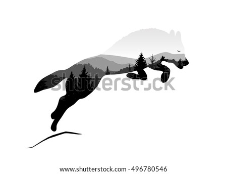 silhouette of jumping wolf with